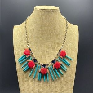 LOFT turquoise, pink, red, blue layered necklace.